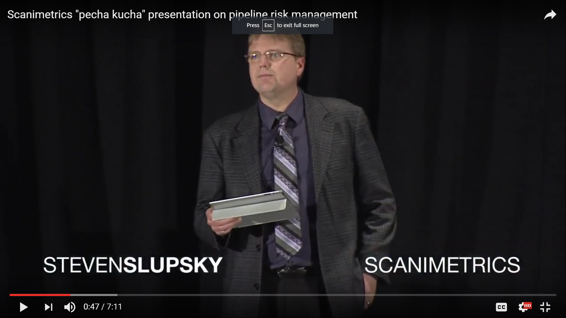 "Scanimetrics ""pecha kucha"" presentation on pipeline risk management"