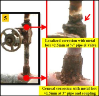 """Condition of a ¾"""" pipe before a repair"""