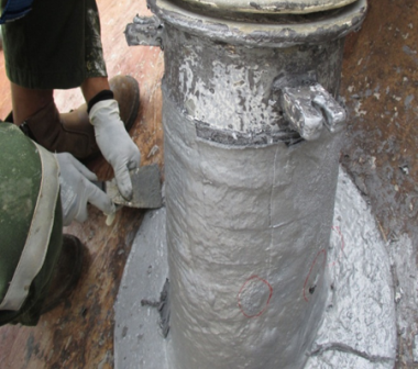 Surface preparation on the leaked pipe