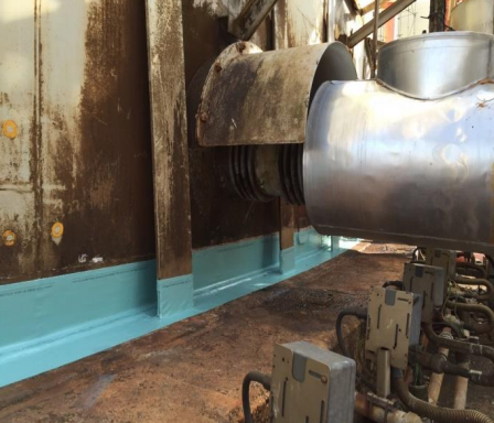 Completed application of Stopaq CZH tape on the tank base plate