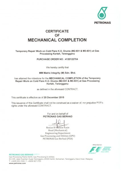 Certificate of Mechanical Completion - Petronas-1