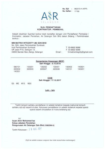 Sijil Pendaftaran Syarikat Air Selangor-1